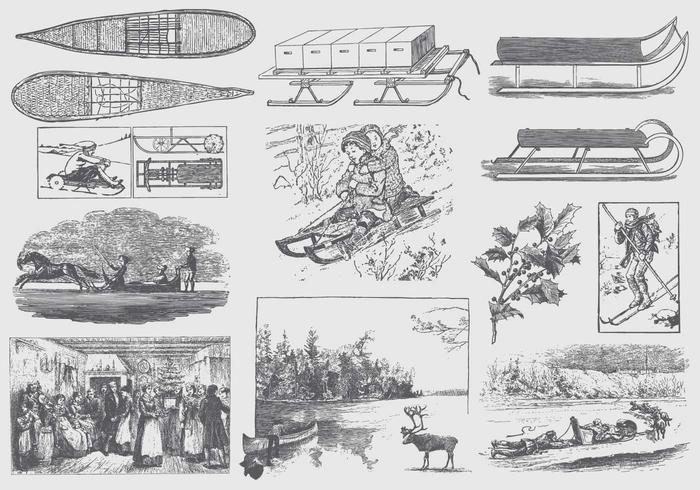 Illustrazioni invernali d'epoca grigie vettore