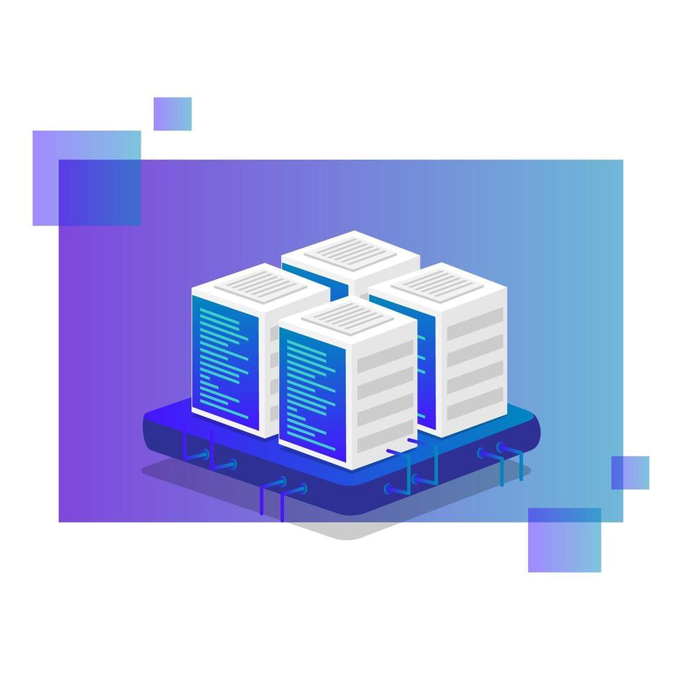progettazione di archiviazione dati cloud isometrica vettore