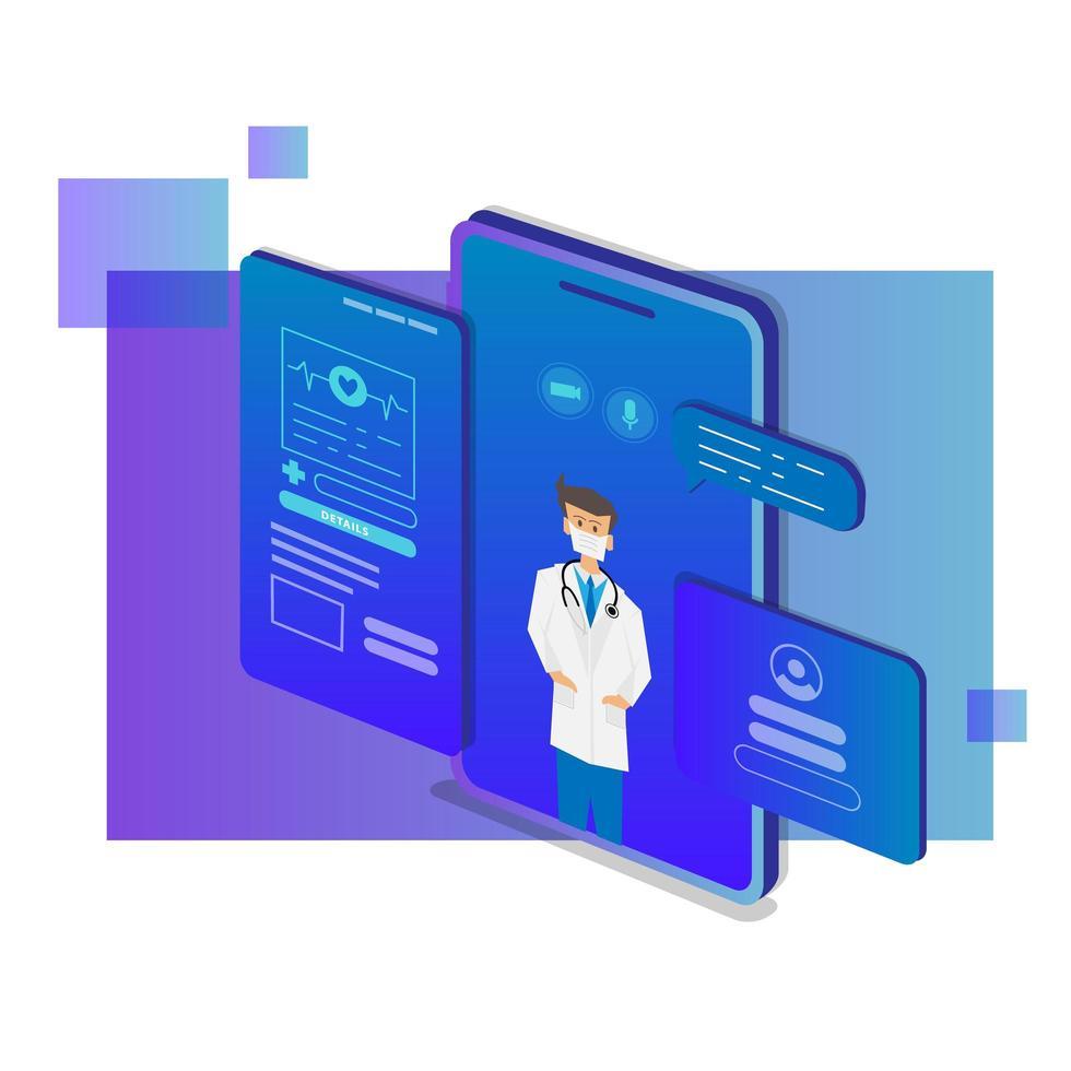 consulente medico mobile isometrico e progettazione di supporto vettore