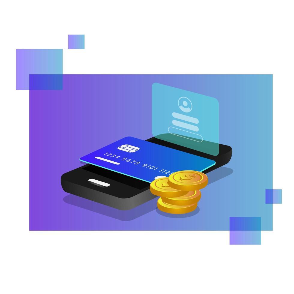progettazione di informazioni bancarie mobili isometriche vettore