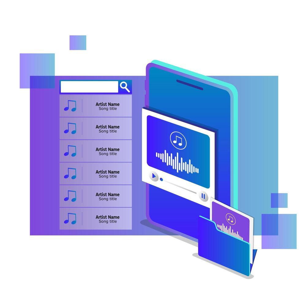concetto di musica online in streaming isometrico vettore