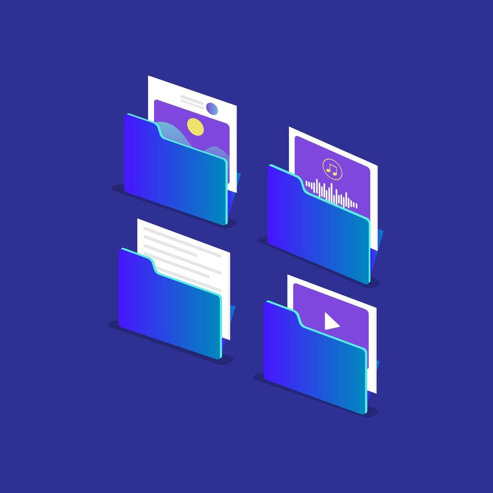 set di cartelle di file multimediali isometriche vettore
