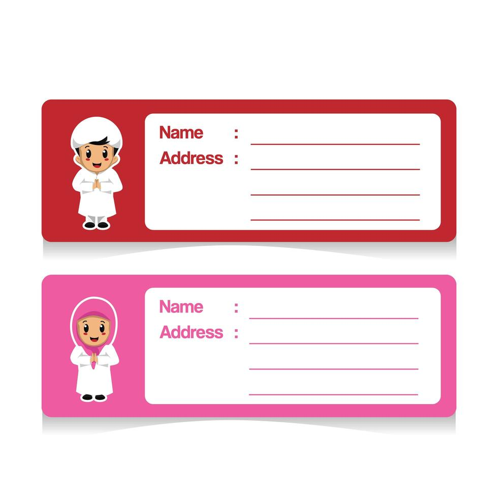 design di etichetta indirizzo simpatico cartone animato islamico vettore