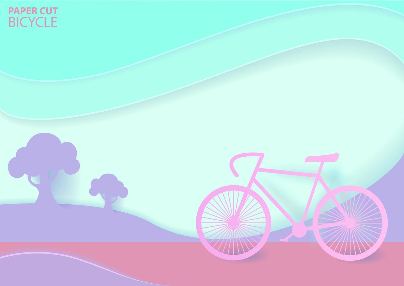 design pastello origami road trip con bici all'aperto vettore