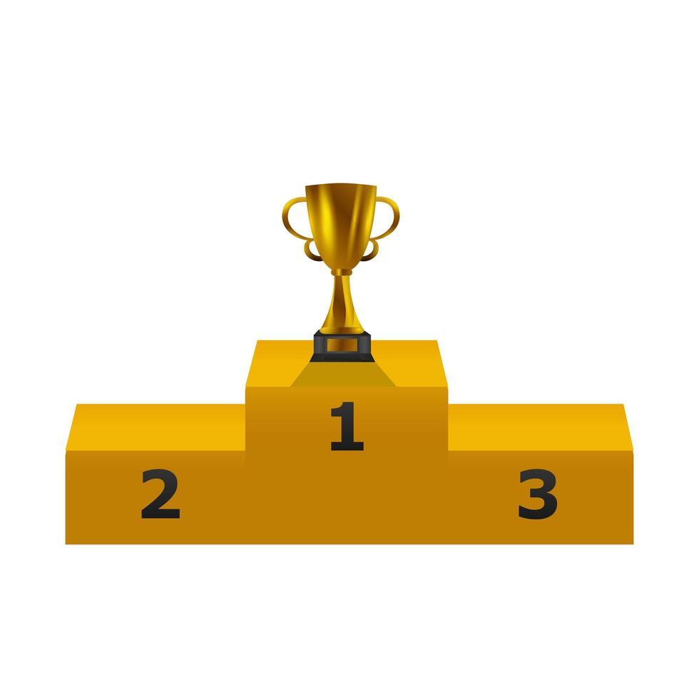 trofeo d'oro sul podio vettore