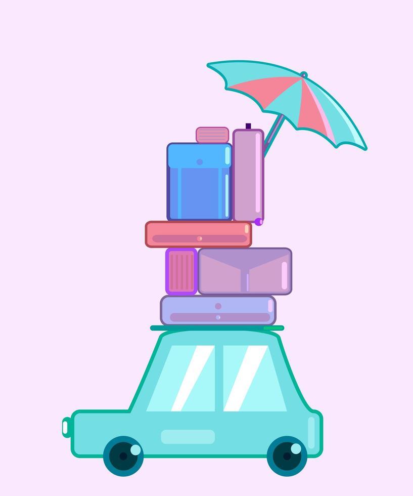 auto con bagaglio in stile piatto e colore pastello vettore