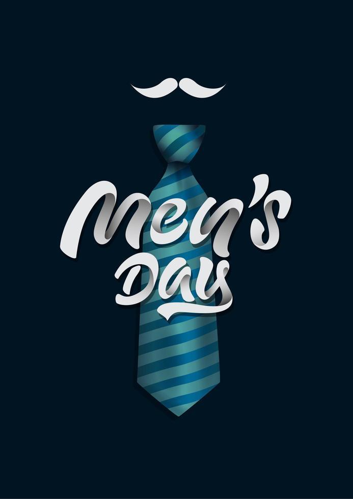 design da giorno maschile con cravatta e baffi vettore