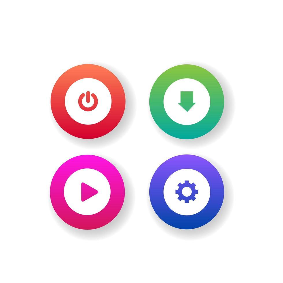 raccolta di pulsanti web colorati diversi vettore