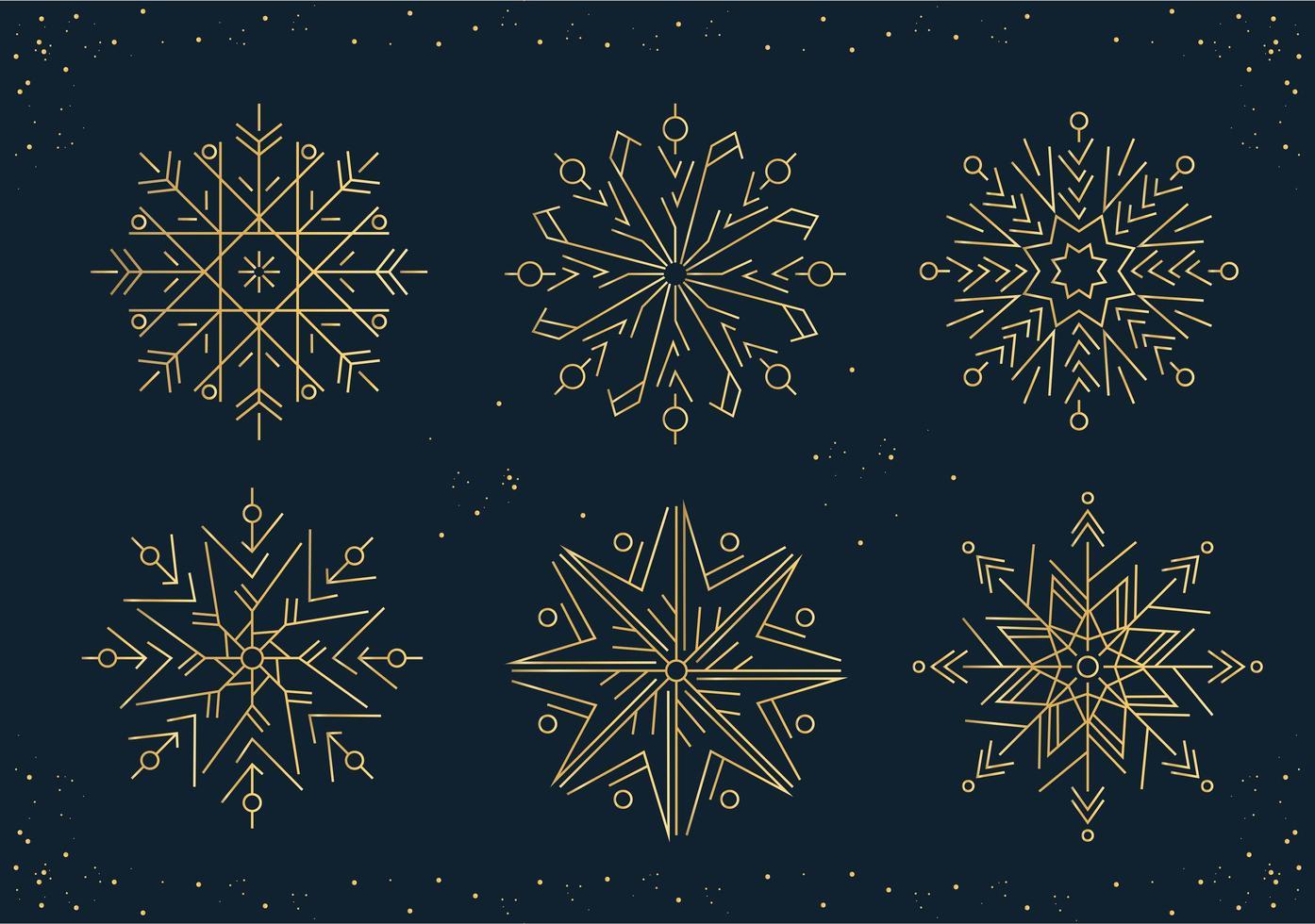 set di fiocchi di neve di nuovo anno in stile linea vettore