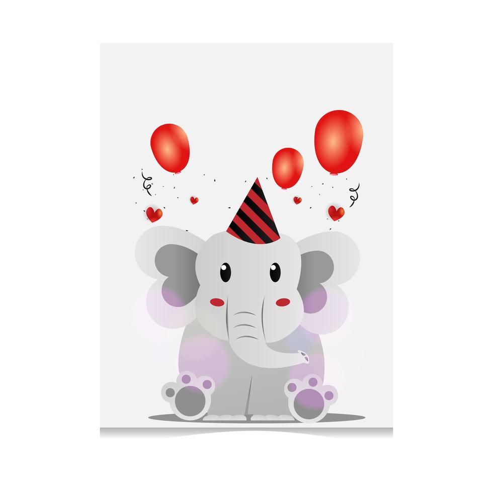 disegno dell'elefante del fumetto disegnato a mano vettore