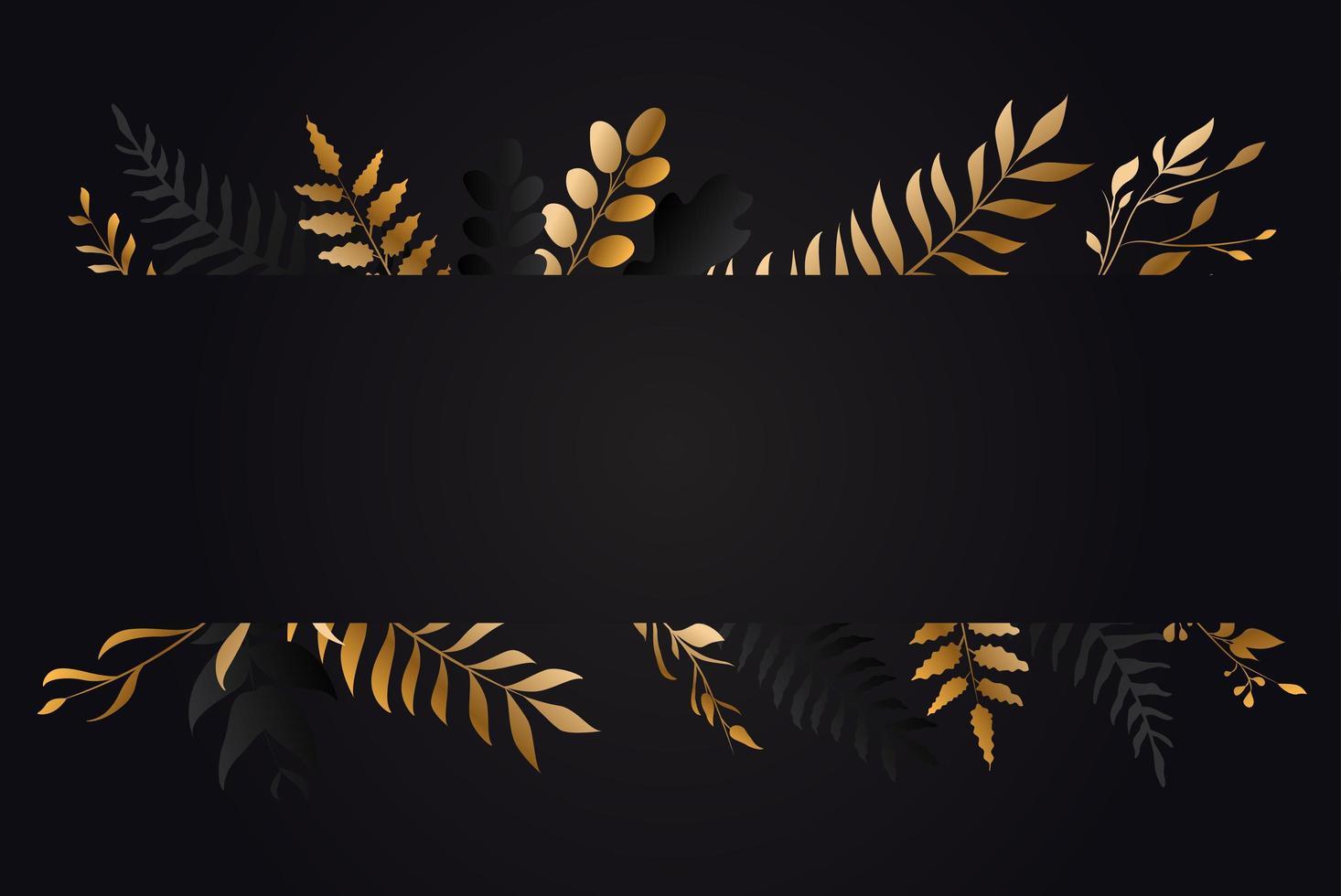 banner foglia oro e nero vettore