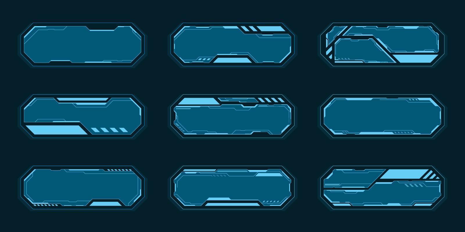 set di frame tecnologia astratta blu vettore