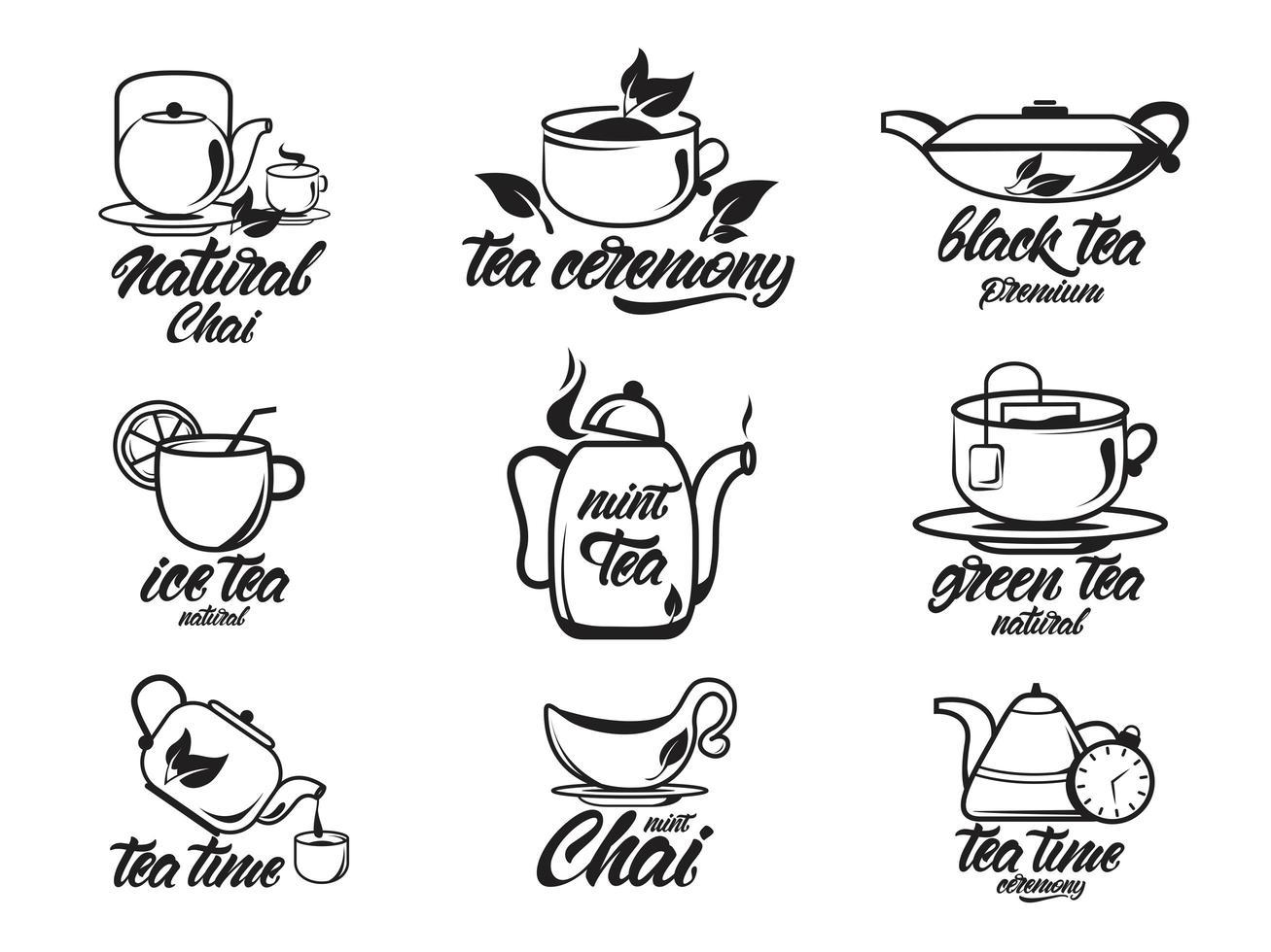 chai, servizio da tè con scritte, collezione in bianco e nero vettore