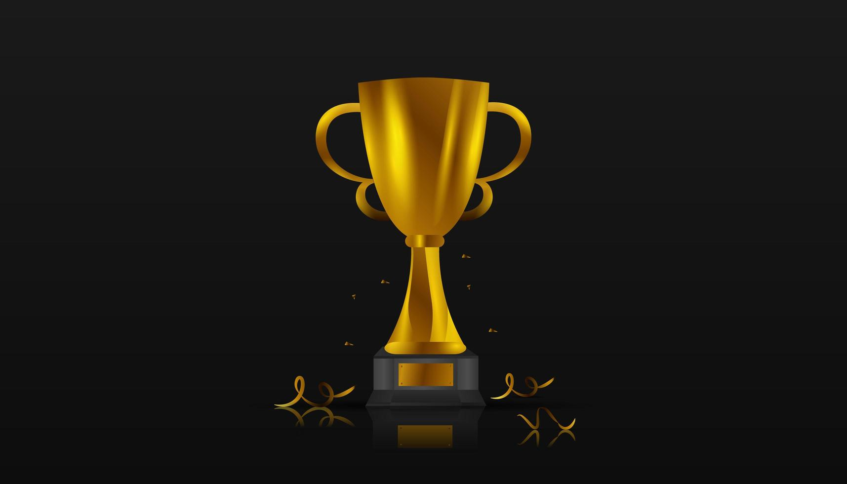 trofeo d'oro realistico e coriandoli sul nero vettore