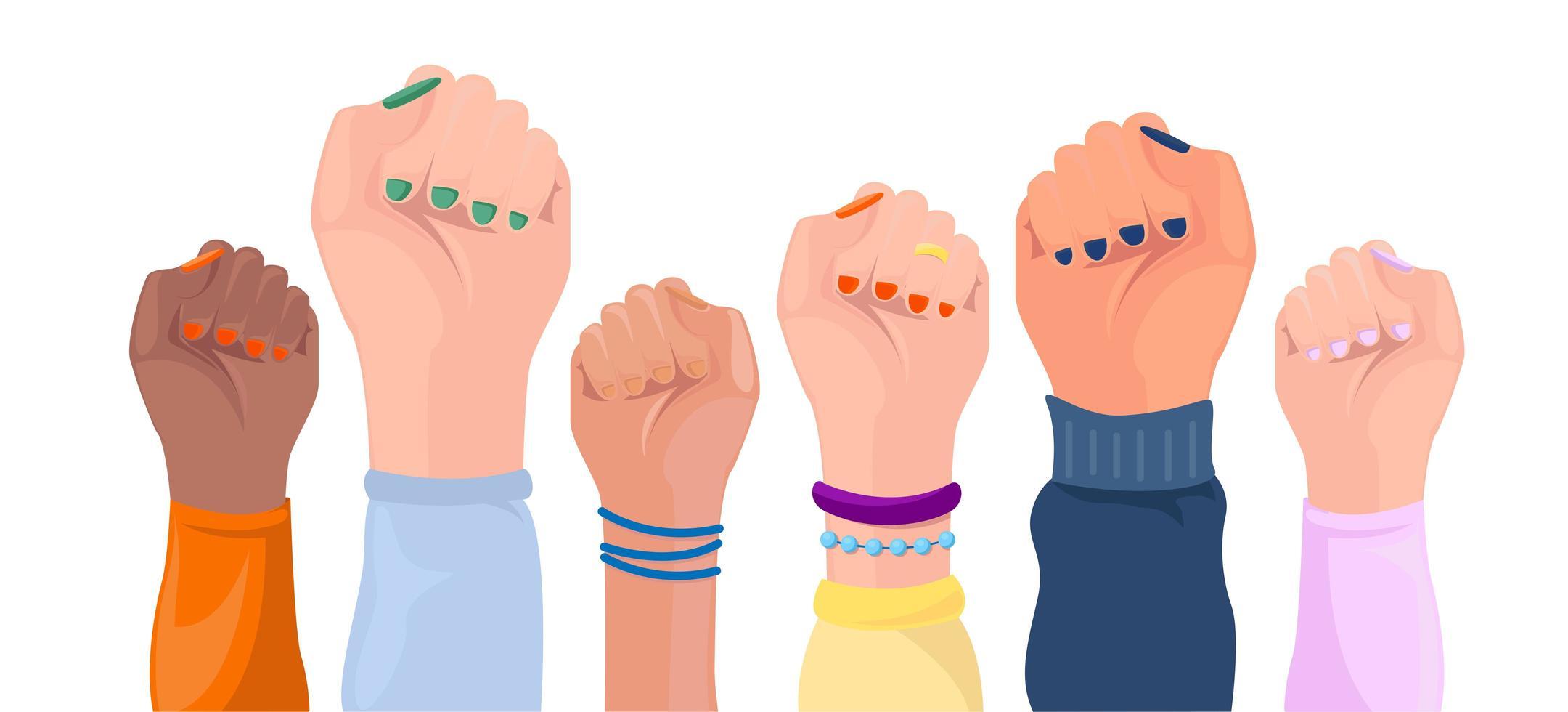 mani alzate delle donne con diversi colori della pelle vettore