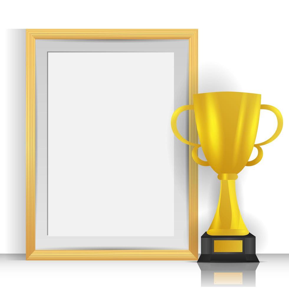 trofeo dorato realistico con cornice vuota vettore