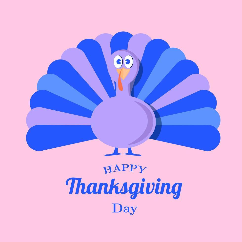 giorno del ringraziamento vacanza viola e blu tacchino vettore