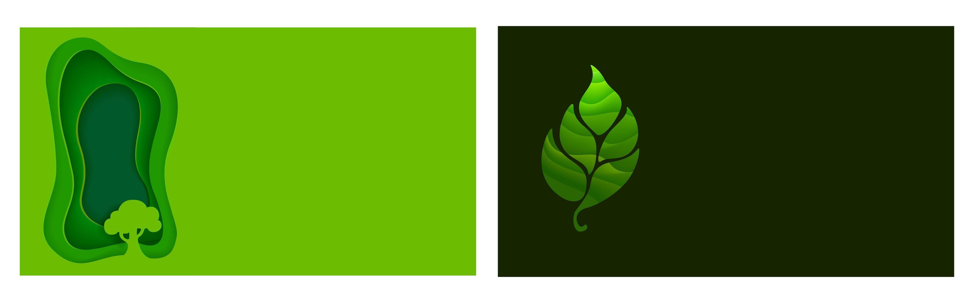 set di ecologia origami e volantini o poster naturali vettore