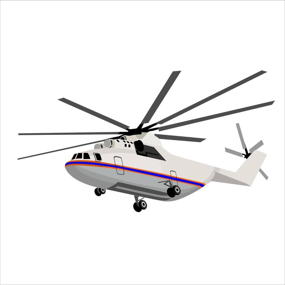 elicottero su bianco vettore