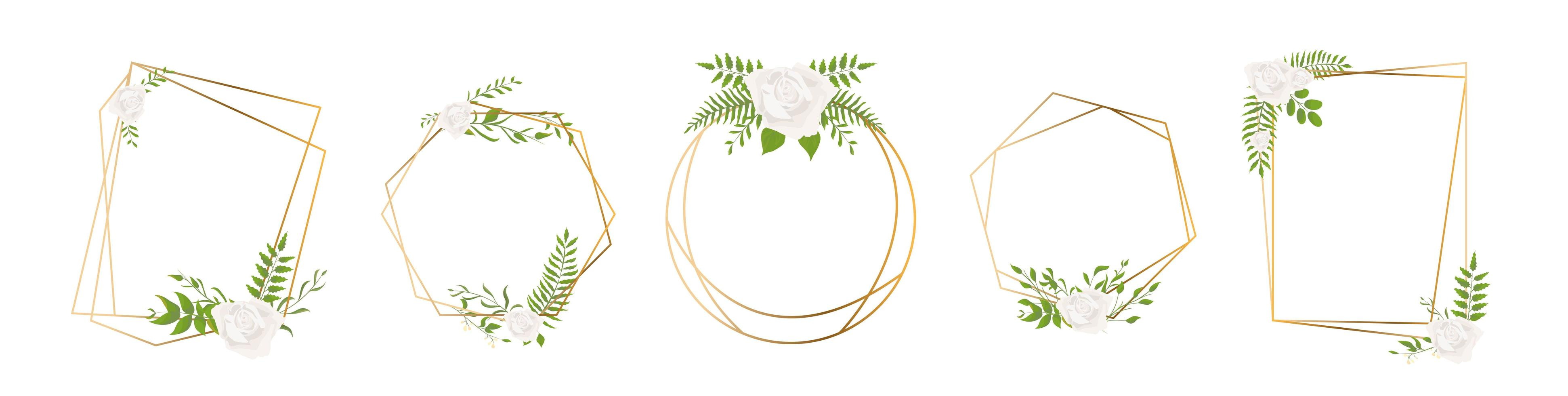 foglia oro poliedro geometrico e cornici di rose vettore