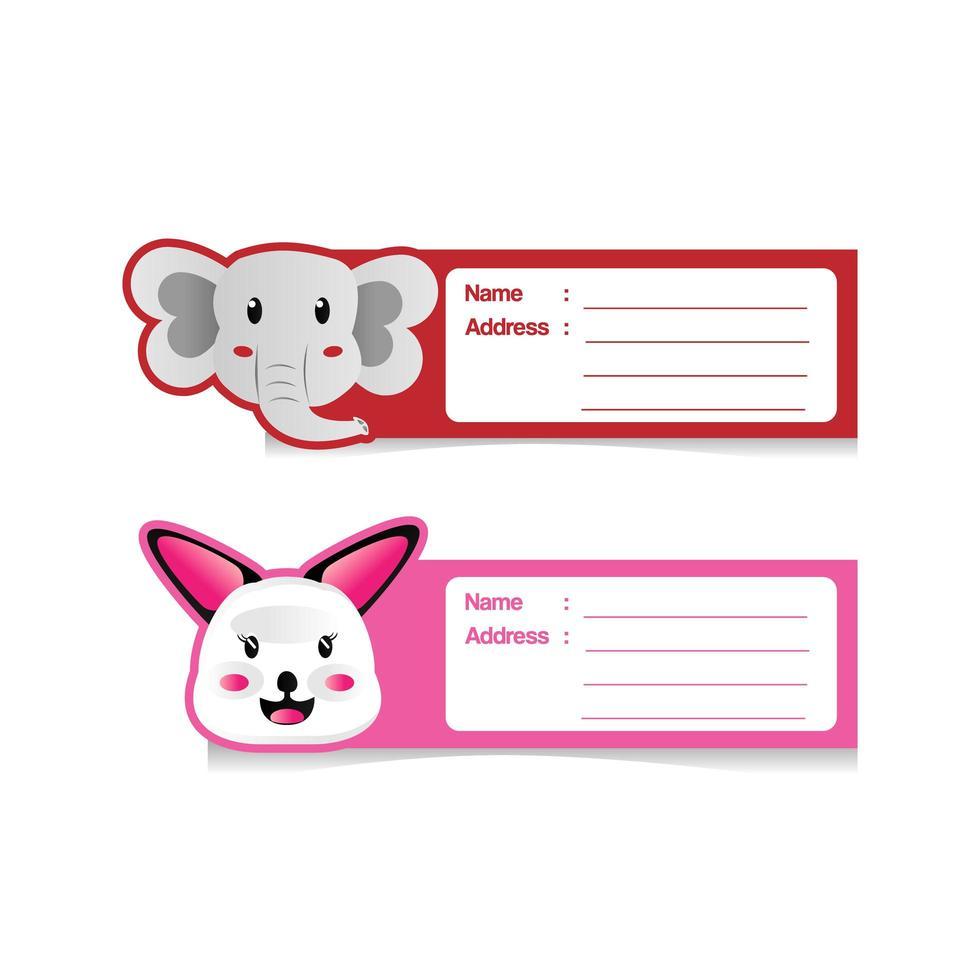 set design etichetta indirizzo simpatico cartone animato animale vettore