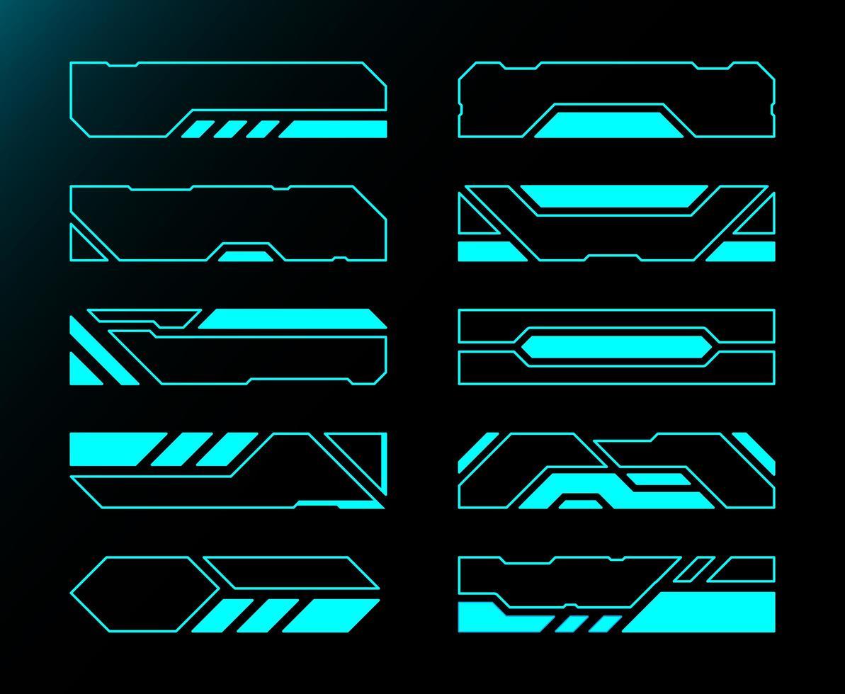 frame set tecnologia futura interfaccia hud collection vettore