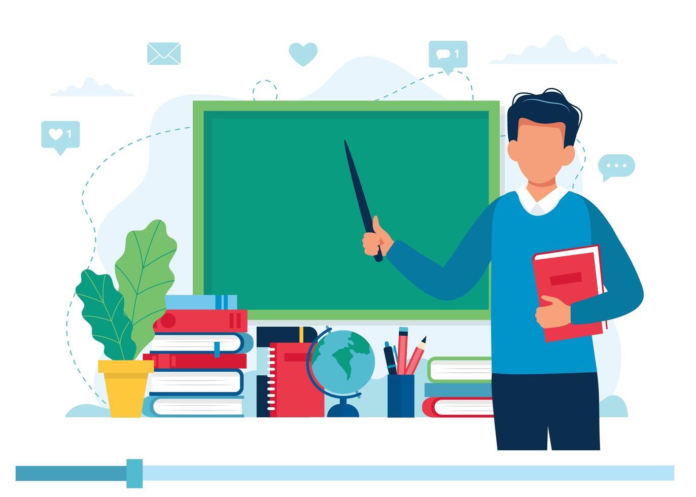 insegnante con libri e lavagna, video lezione vettore