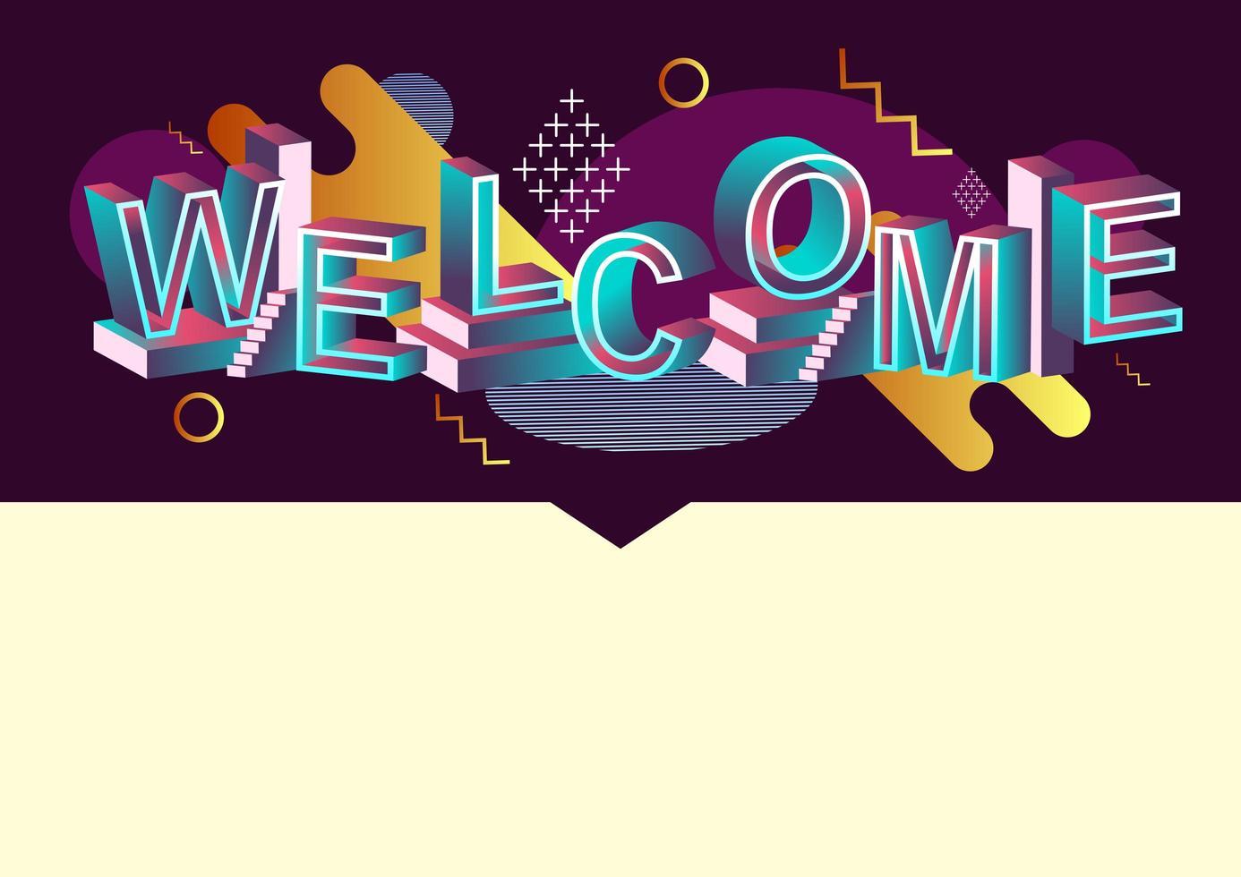 benvenuto concetto di tipografia con elementi grafici astratti vettore