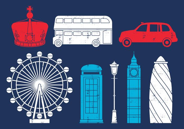 Icone di viaggio britannico vettore