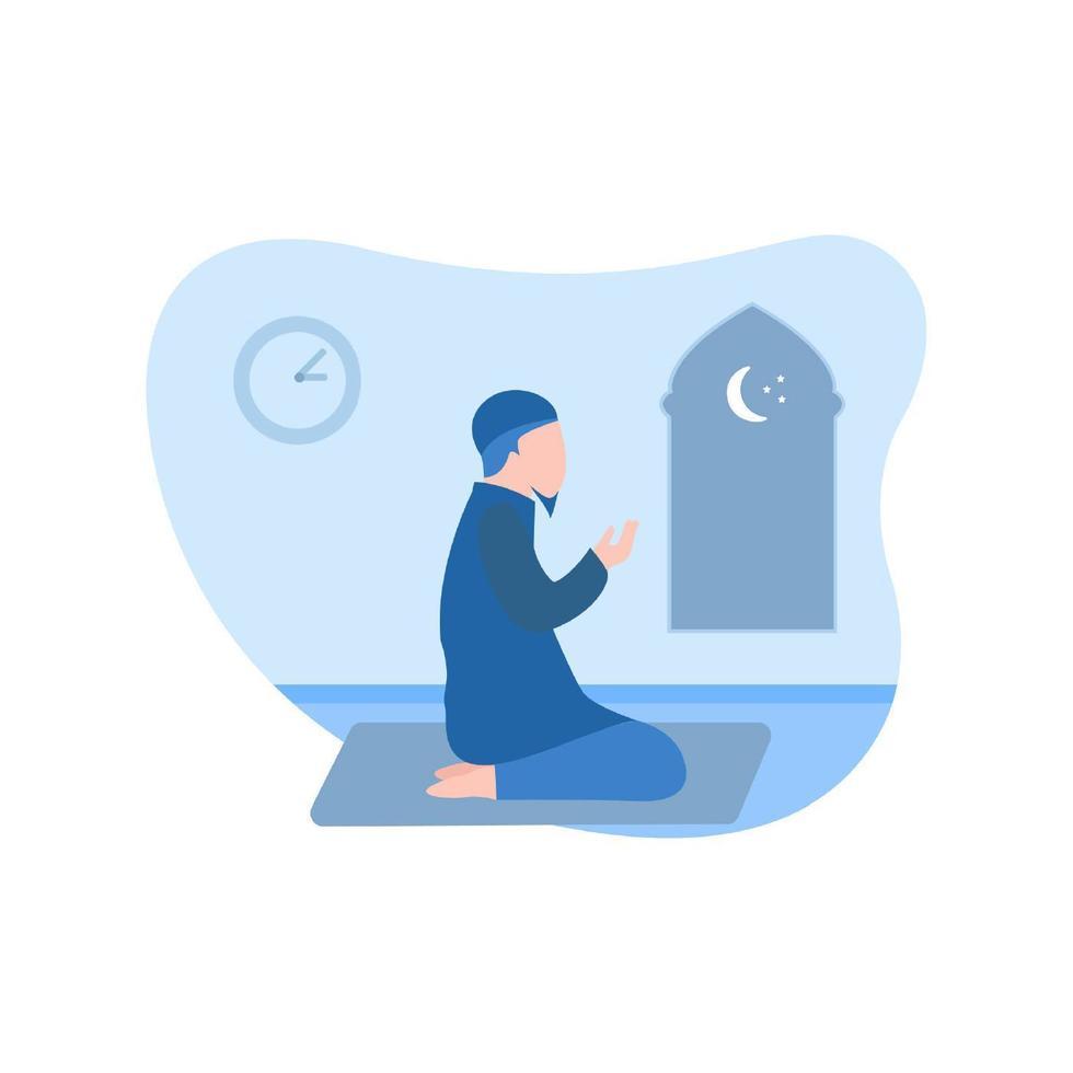 musulmano che prega con le mani in alto vettore