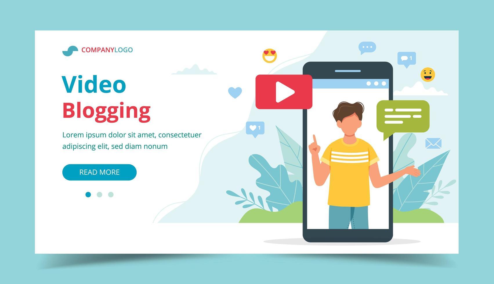 video blogger sullo schermo dello smartphone vettore