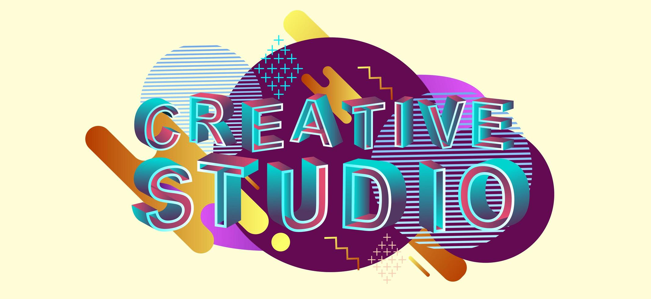 intestazione web di concetto moderno di studio creativo vettore