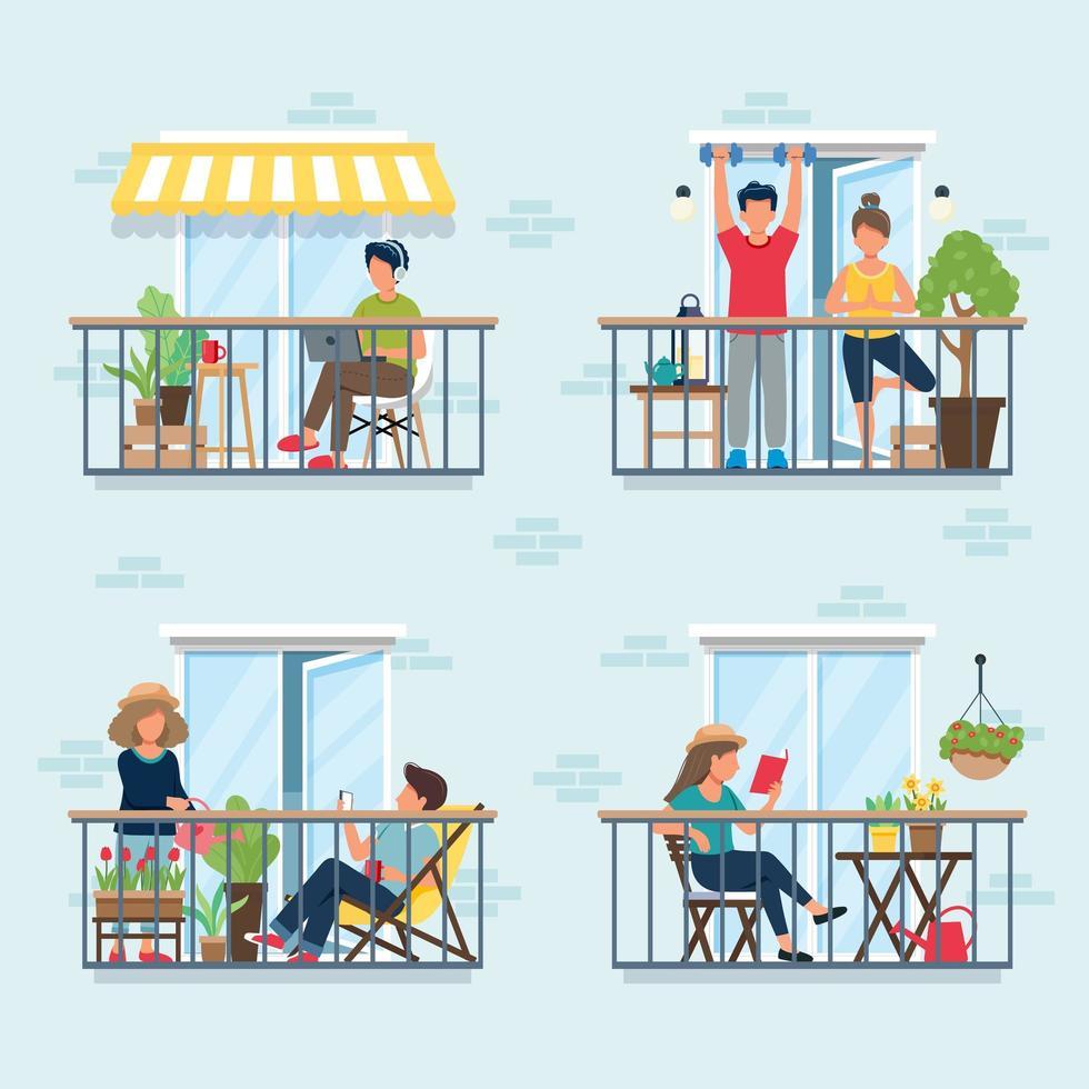 persone sul balcone, concetto di isolamento sociale vettore