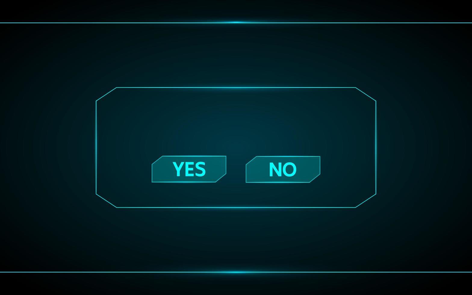 sì e no pulsante di gioco futuristico vettore