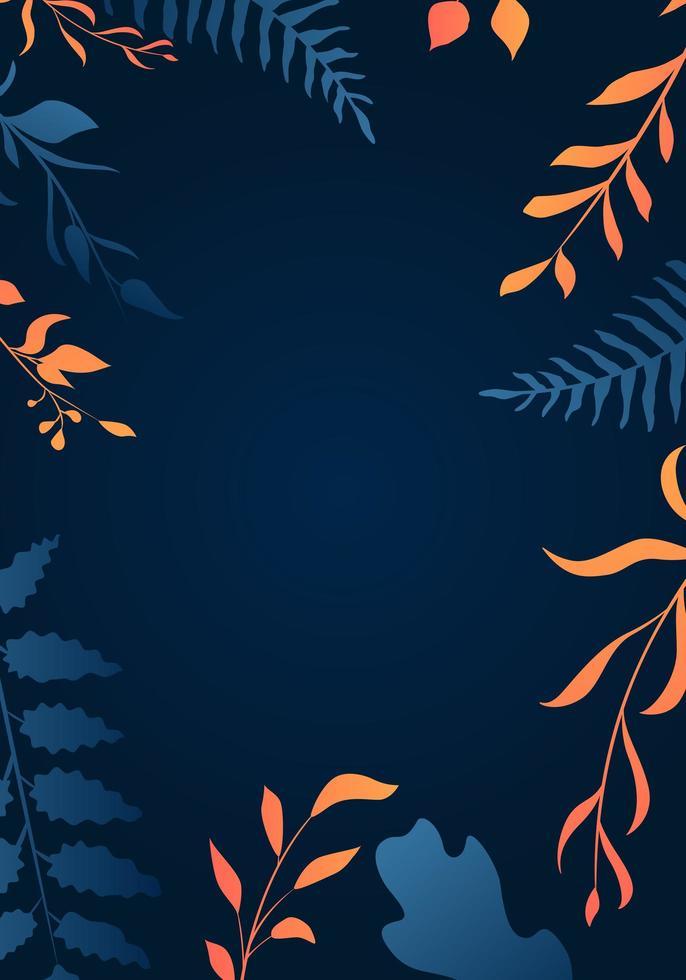 bordo foglia sfumato arancione e blu sul blu vettore