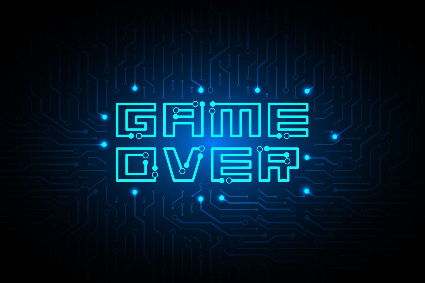 circuito game over sul design tecnologico vettore