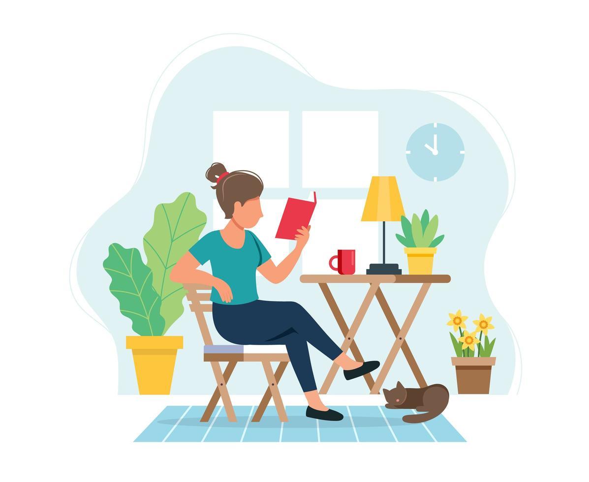 donna che legge un libro in accoglienti interni moderni vettore