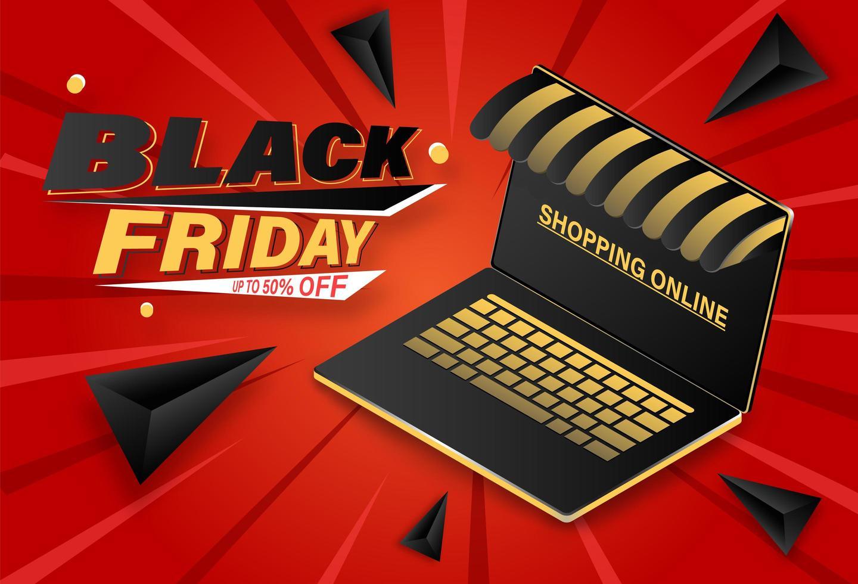 venerdì nero acquisti online sul banner del laptop vettore