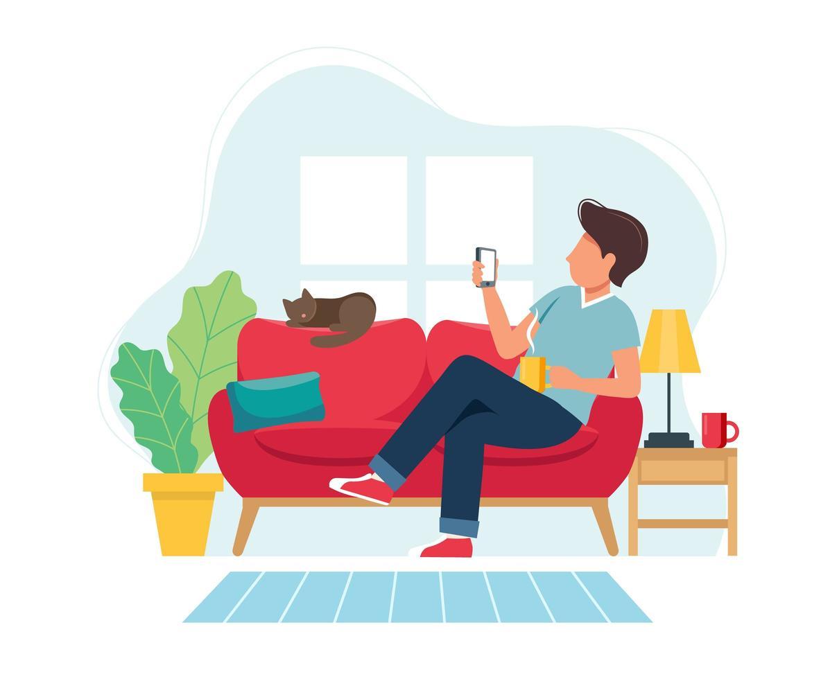 uomo seduto sul divano con lo smartphone vettore