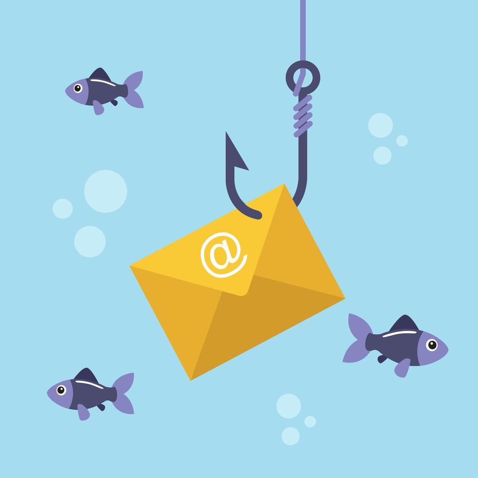 busta di posta elettronica sul gancio di pesca vettore