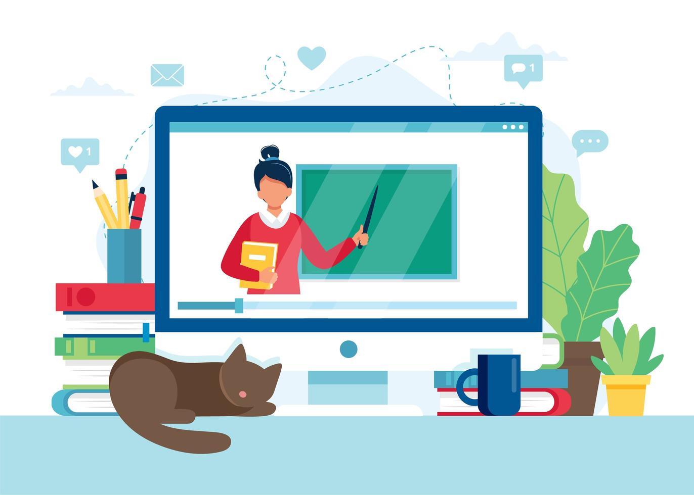 schermo con insegnante femminile e lavagna, lezione video vettore
