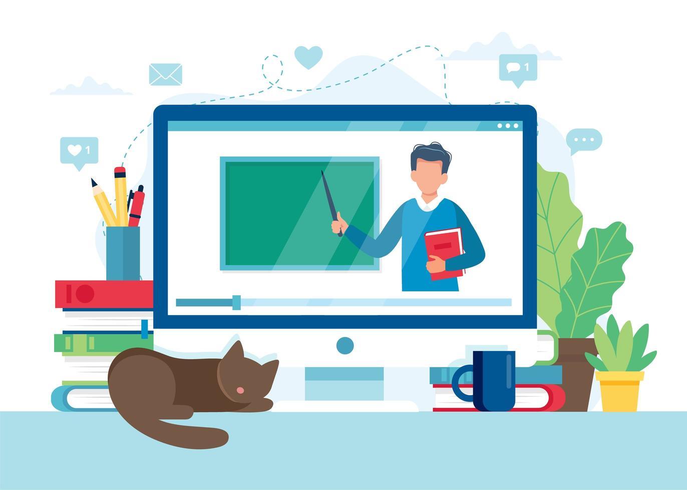 schermo con insegnante e lavagna, lezione video vettore