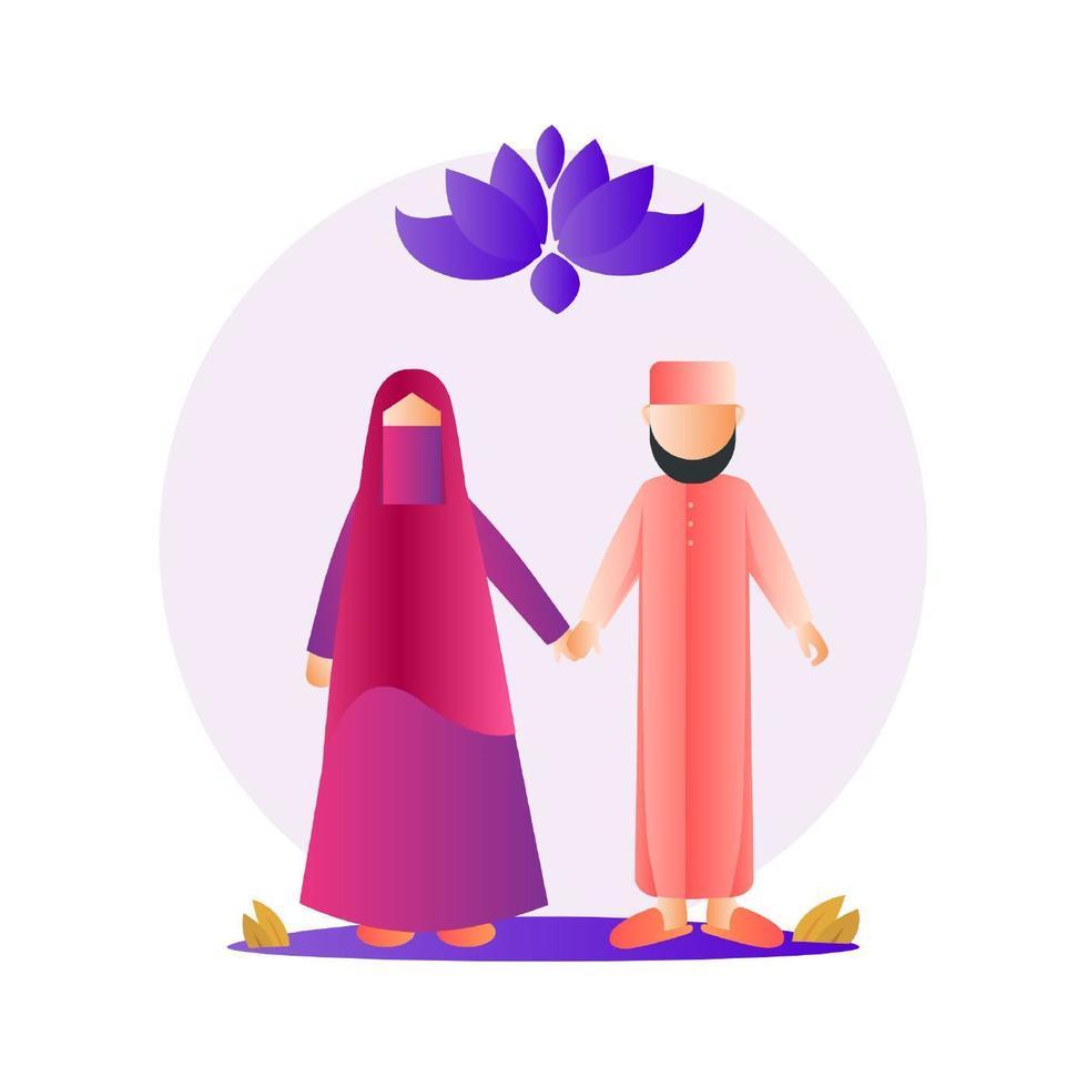 felice coppia musulmana vettore