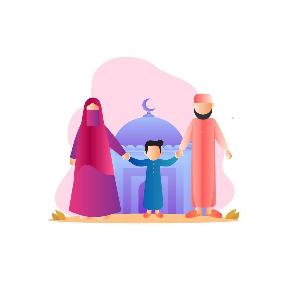 famiglia musulmana felice vettore