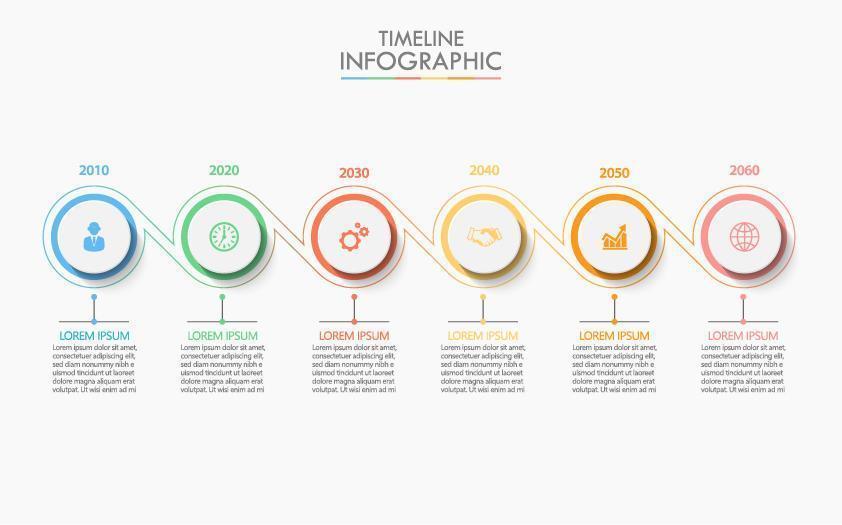 Infografica della timeline del cerchio collegato a 6 passaggi vettore