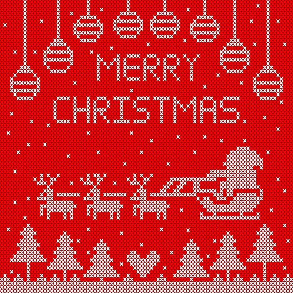 buon natale lavorato a maglia con Babbo Natale in slitta vettore
