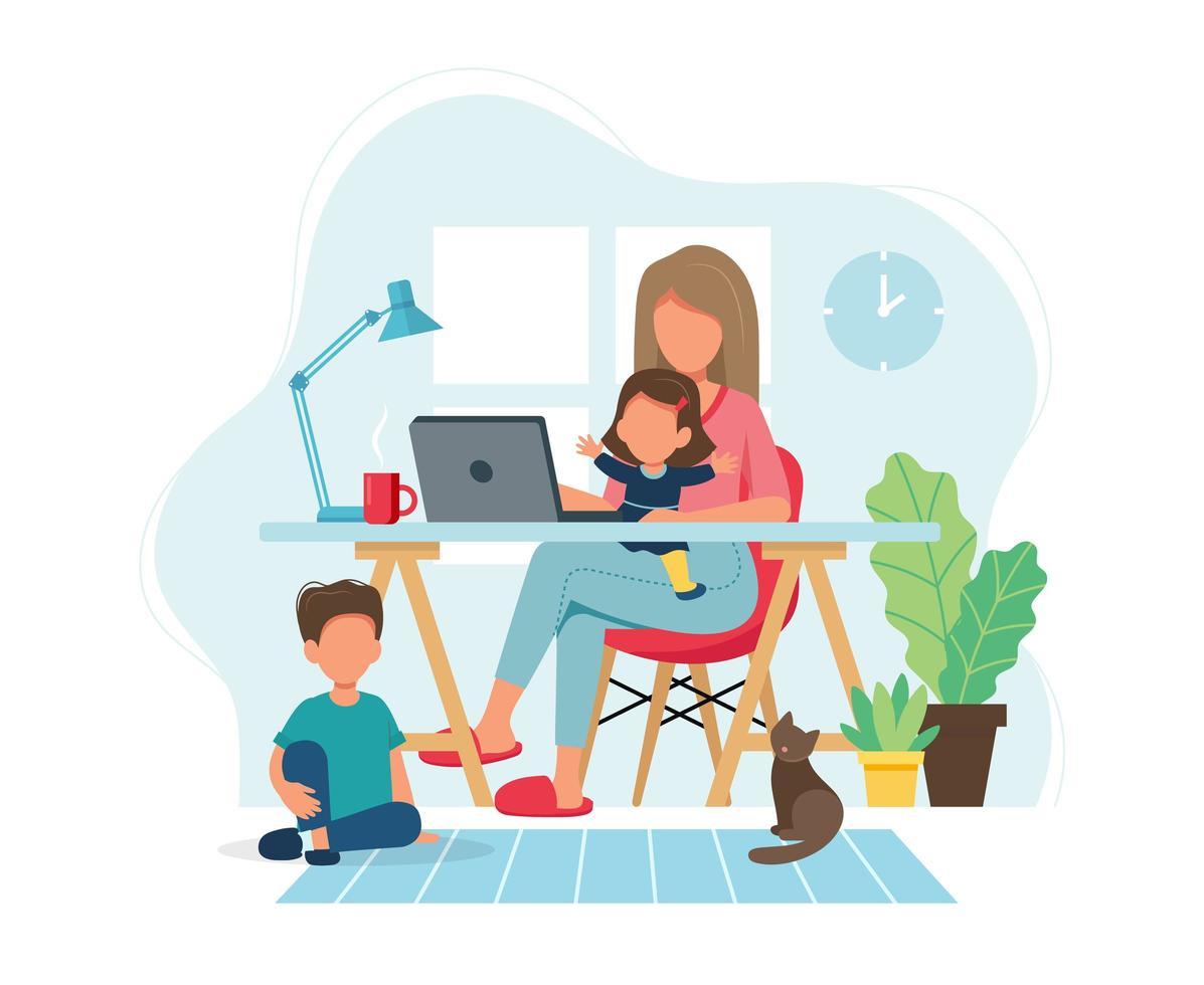 donna che lavora da casa con i bambini vettore