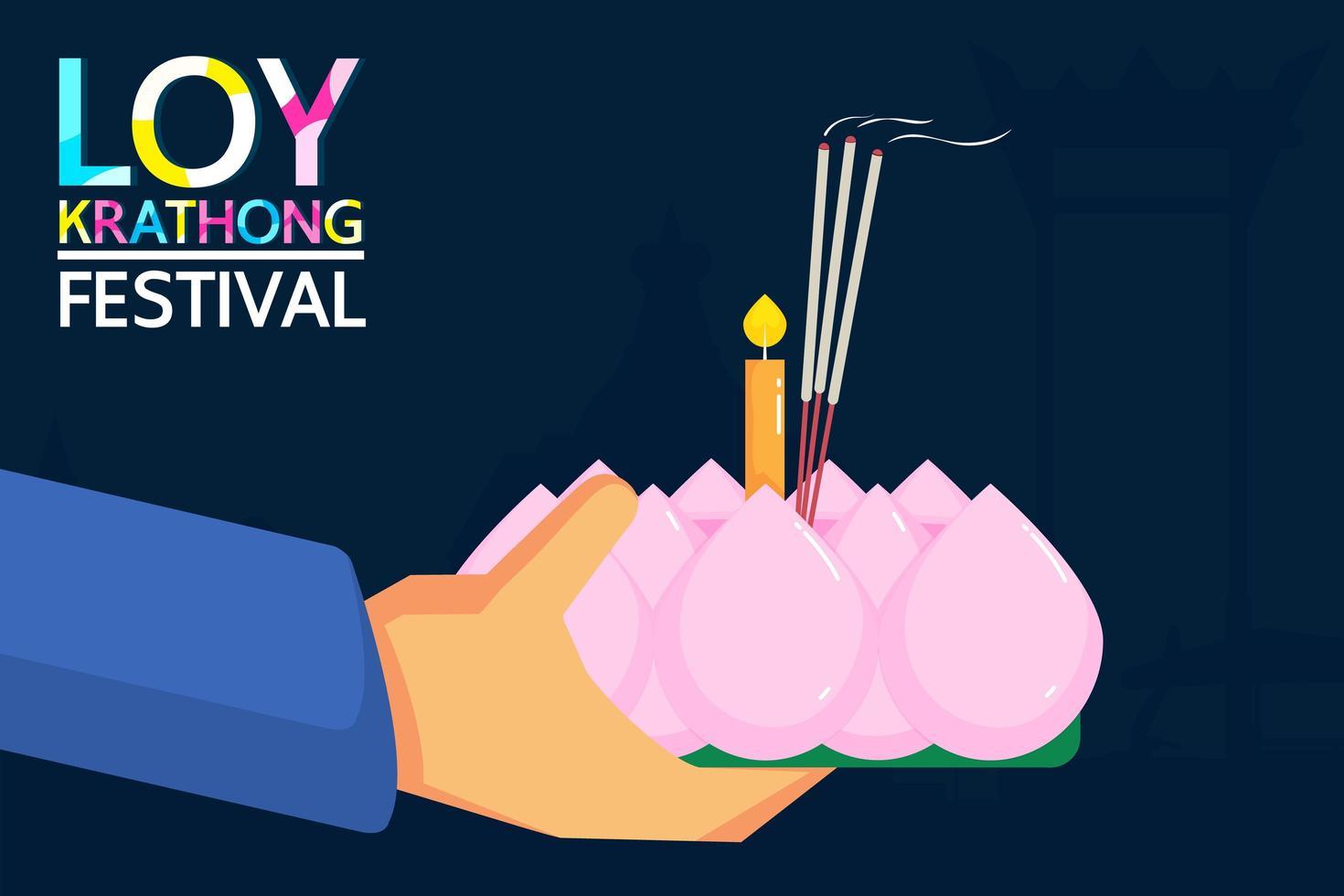 design del festival loy krathong con le mani che tengono la candela vettore