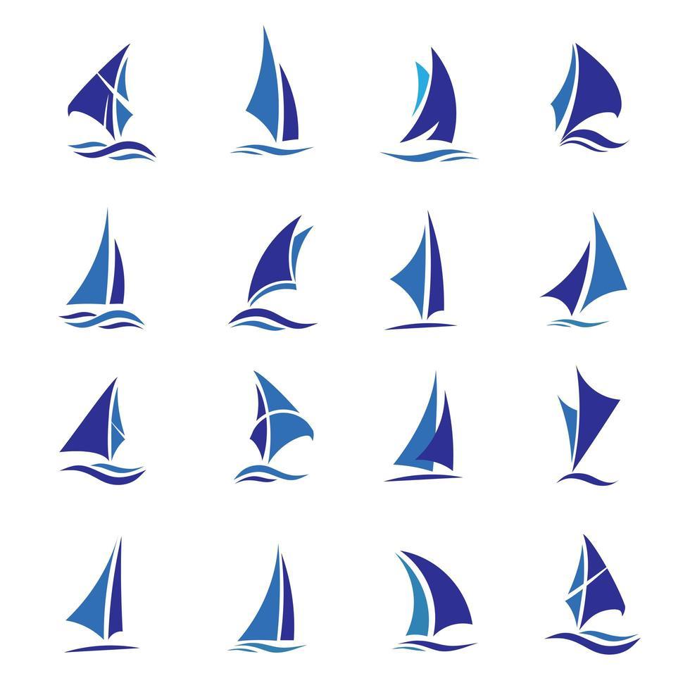 set di barche a vela blu vettore