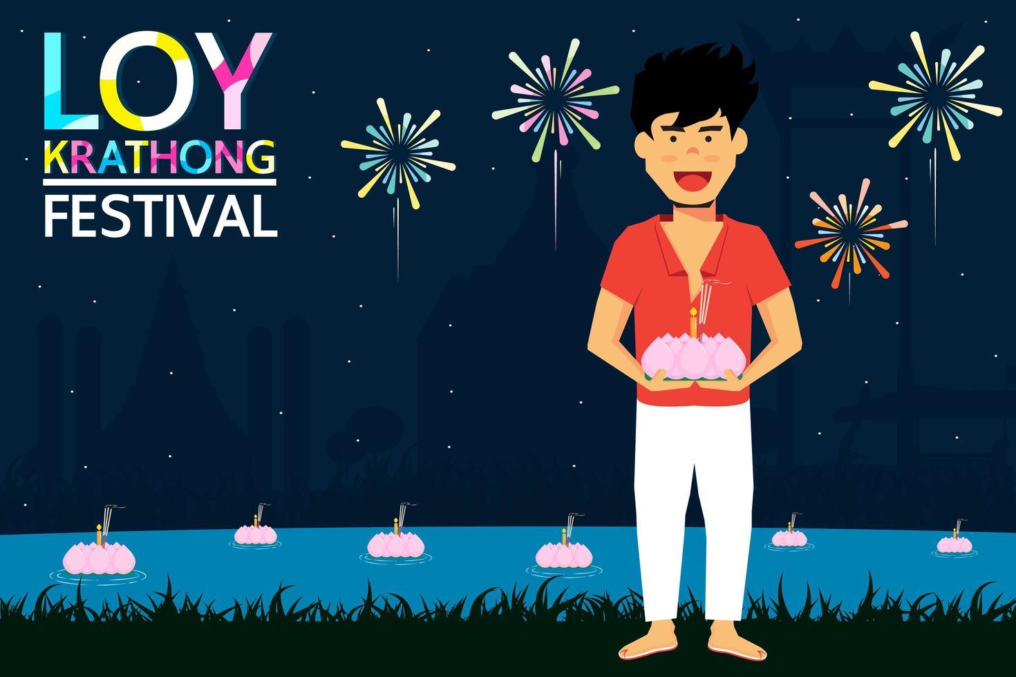 loy krathong festival design con uomo che tiene la candela vettore